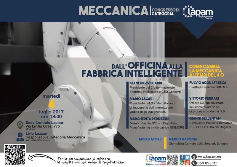 """Locandina """"Dall'officina alla Fabbrica Digitale"""" organizzato da LAPAM software gestione produzione"""