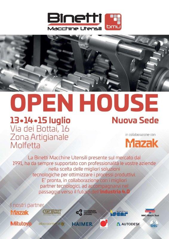 Locandina evento Binetti Open House Molfetta, OSL, Mazak, industria 4.0