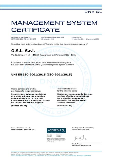Certificato Qualità O.S.L. S.r.l. UNI ENI ISO 9001:2015